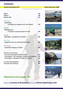 Sommaire Carnets d'Aventures 7