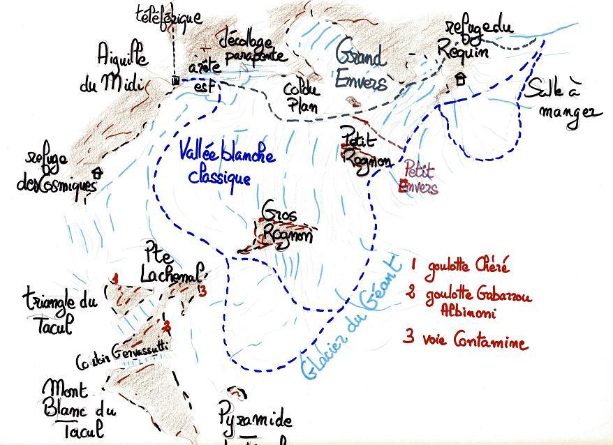 Topo Arete du Midi Plan du Midi Descendre L'arête
