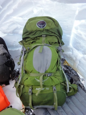 Le sac Osprey Aether 70 dans notre igloo