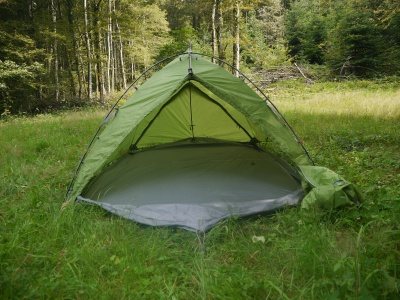 Tente Vaude Mark Travel 3p - En mode tarp avec footprint
