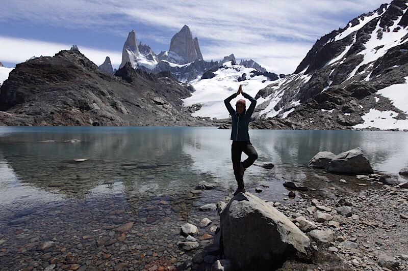 Séance yoga devant Mr le Fitz Roy.