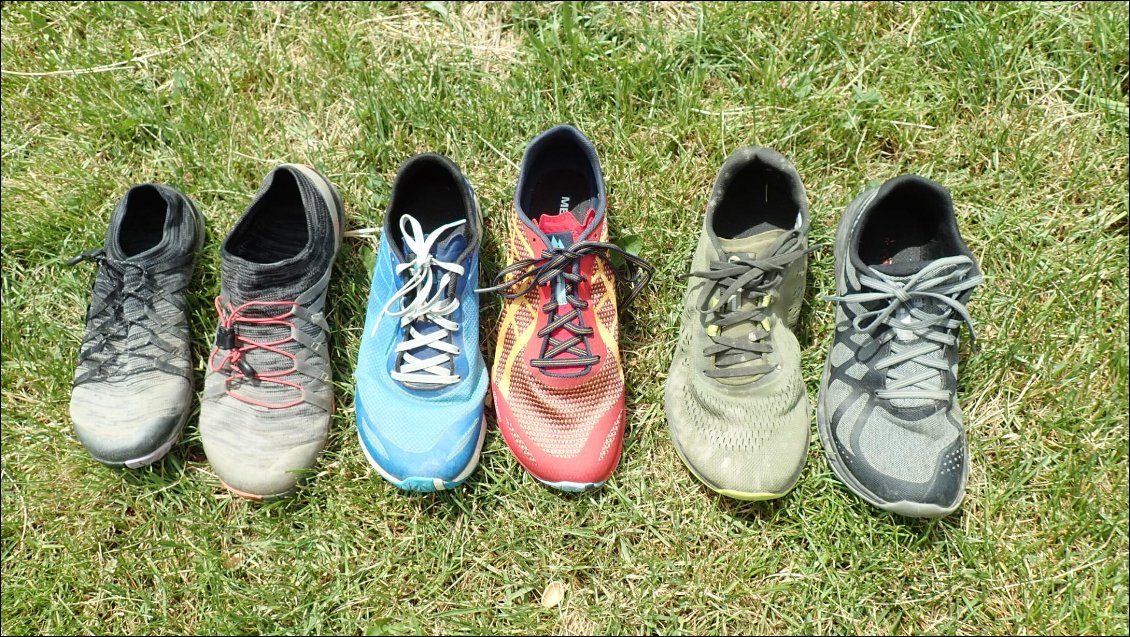 Les 5 modèles : Trail glove (x2), Bare Access Flex, Bare Access Flex Shield, Bare Access Flex 2 E-Mesh, Bare Access Flex 2